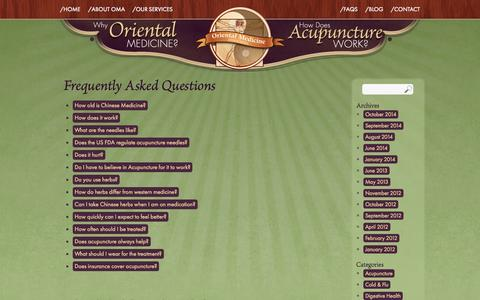 Screenshot of FAQ Page greenvilleorientalmedicine.com - Frequently Asked Questions | Oriental Medicine Associates - captured Oct. 7, 2014