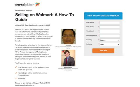 Screenshot of Landing Page channeladvisor.com - Selling on Walmart: A How-To Guide | ChannelAdvisor - captured Oct. 12, 2016