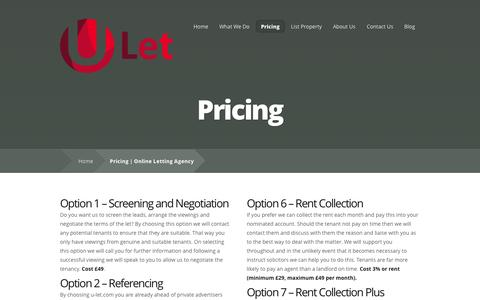 Screenshot of Pricing Page u-let.com - Pricing | Online Letting Agency | U-Let Tenant Finder - captured Sept. 30, 2014