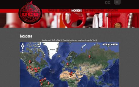 Screenshot of Locations Page ocopressurecontrol.com - Locations | OCO - captured Oct. 27, 2014
