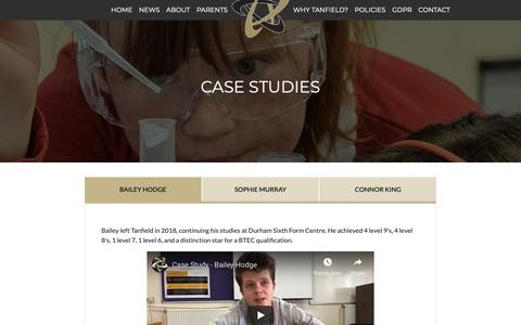 Screenshot of Case Studies Page tanfieldschool.co.uk - Tanfield School - captured Oct. 26, 2018