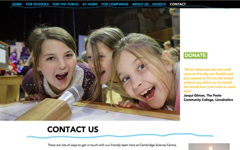 Screenshot of Contact Page cambridgesciencecentre.org - Contact Us | Cambridge Science Centre - captured July 15, 2018