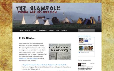 Screenshot of Press Page glamfolk.com - In the News… | The Glamfolk - captured Oct. 2, 2014