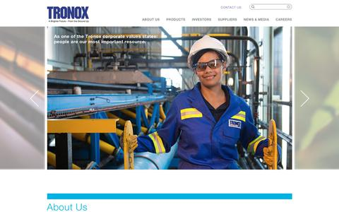 Screenshot of Home Page tronox.com - Tronox – Producer and Marketer of Titanium Dioxide Pigment - captured July 2, 2018