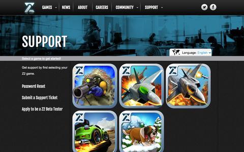 Screenshot of Support Page z2.com - Z2 | Support - captured Sept. 17, 2014