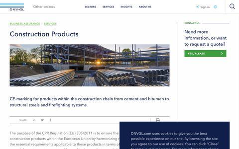 Screenshot of Services Page dnvgl.com - Construction Products  - DNV GL - captured Dec. 7, 2019