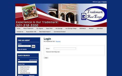 Screenshot of Login Page trademarkrealestate.com - Hot Springs Arkansas Real Estate- Trademark Real Estate - User Login - captured Sept. 30, 2014