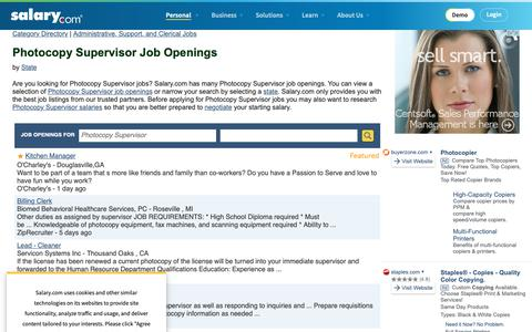Screenshot of Jobs Page salary.com - Photocopy Supervisor Job Openings | Salary.com - captured Oct. 26, 2018