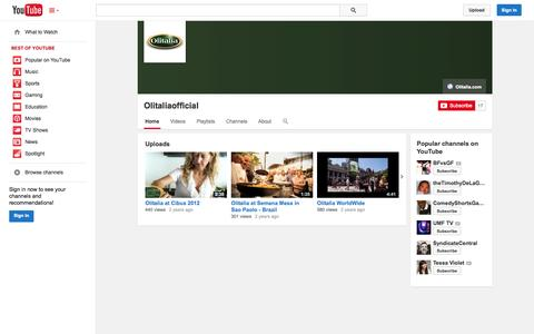 Screenshot of YouTube Page youtube.com - Olitaliaofficial  - YouTube - captured Oct. 26, 2014