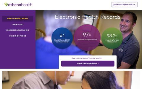 Screenshot of Landing Page athenahealth.com - Best in KLAS EHR Service | athenahealth - captured Dec. 9, 2015