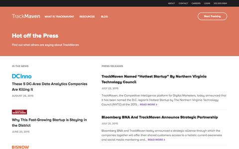 Screenshot of Press Page trackmaven.com - Press Releases Archive Đ TrackMaven - captured Nov. 18, 2015