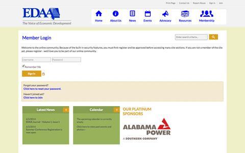 Screenshot of Login Page edaa.org - Economic Development Association of Alabama - captured Oct. 1, 2014