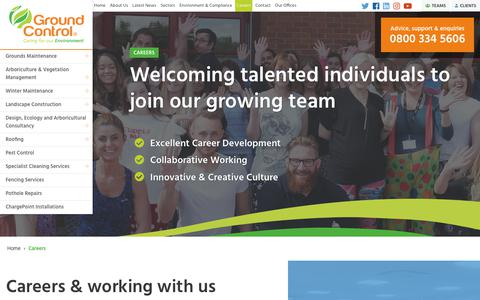 Screenshot of Jobs Page ground-control.co.uk - Careers   Ground Control - captured Nov. 5, 2018