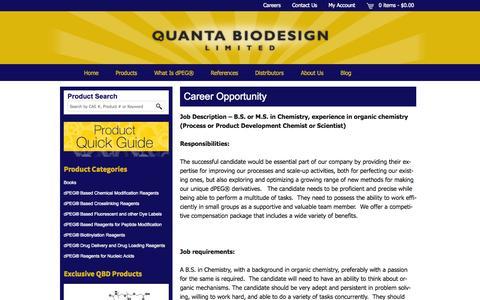 Screenshot of Jobs Page quantabiodesign.com - Career Opportunity  - Quanta BioDesign - captured Oct. 2, 2014