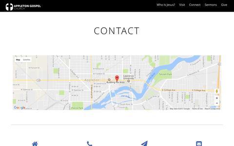 Screenshot of Contact Page appletongospel.com - Contact - captured May 30, 2017