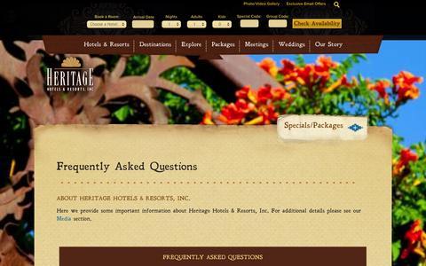 Screenshot of FAQ Page hhandr.com - FAQs: Company Size, Location, History, Culture | Heritage Hotels & Resorts - captured Oct. 2, 2014