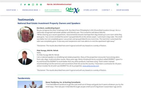 Screenshot of Testimonials Page odorxit.com - Customer Testimonials | Realtors | Investors | Taxidermists | OdorXit Products - captured Sept. 21, 2018