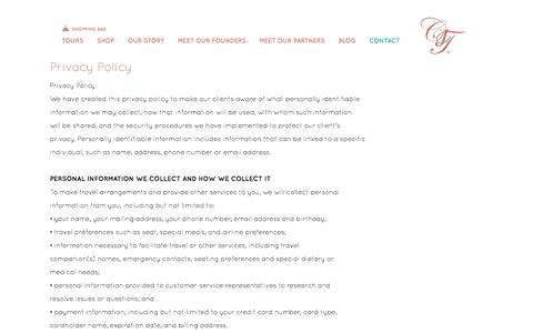 Screenshot of Privacy Page chloejohnston.com - Privacy Policy - Chloe Johnston - captured Oct. 1, 2014