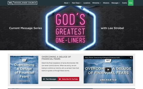 Screenshot of Home Page wc.org - Woodlands Church - The Woodlands, Texas - captured Feb. 15, 2016