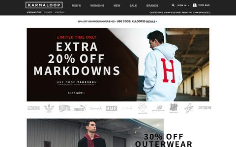 Screenshot of Home Page karmaloop.com - Streetwear Clothing, Footwear, and Accessories -  Karmaloop.com - captured Jan. 21, 2017