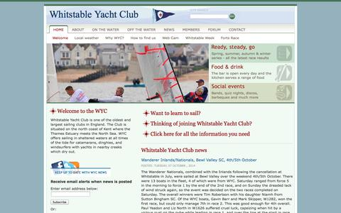 Screenshot of Home Page wyc.org.uk - Whitstable Yacht Club - captured Oct. 7, 2014