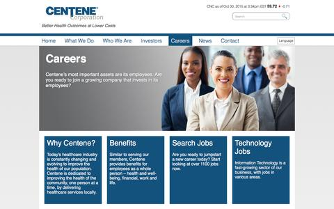 Screenshot of Jobs Page centene.com - Centene Careers � Centene - captured Oct. 30, 2015