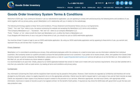 Screenshot of Terms Page goodsorderinventory.com - GOIS PRO- Product | Inventory Management apps - Terms And Conditions - captured Nov. 25, 2016