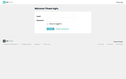 Screenshot of Login Page wpengine.com - User Portal - captured Sept. 17, 2014
