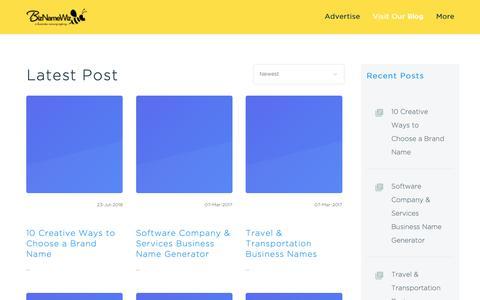 Screenshot of Blog biznamewiz.com - Business Names Inspiration & Ideas Blog - captured Nov. 6, 2018