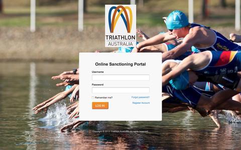 Screenshot of Login Page triathlon.org.au - Triathlon Australia - National Event Sanctioning System - captured Feb. 25, 2016