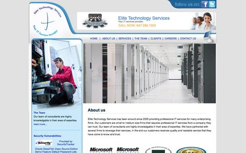 Screenshot of About Page elitetechservices.ca - About us - Elite Technology Services - captured July 17, 2018