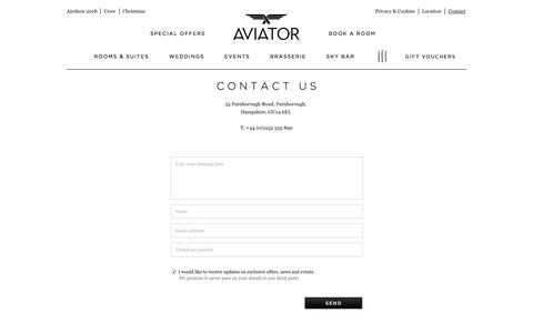 Screenshot of Contact Page aviatorbytag.com - Contact | Luxury hotel Surrey / Hampshire borders - captured Oct. 9, 2017