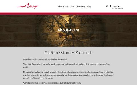Screenshot of About Page avantministries.org - About Us -                         Avant Ministries - captured July 27, 2016