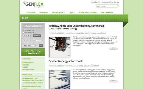 Screenshot of Blog genflex.com - Blog | GenFlex Roofing Systems - captured Nov. 1, 2014