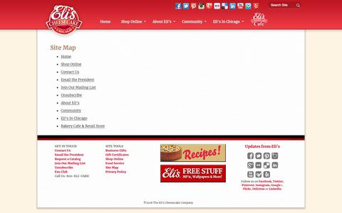 Screenshot of Site Map Page elicheesecake.com - Site Map - Eli's Cheesecake - captured Nov. 10, 2018