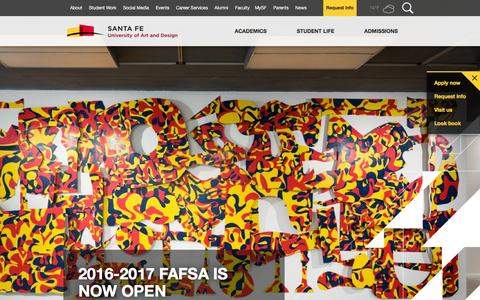Screenshot of Home Page santafeuniversity.edu - New Mexico Art School | Santa Fe University of Art and Design - captured Feb. 3, 2016