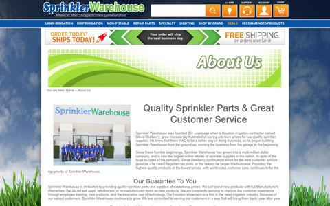 Screenshot of About Page sprinklerwarehouse.com - About Us - Sprinkler Warehouse - captured Dec. 21, 2016