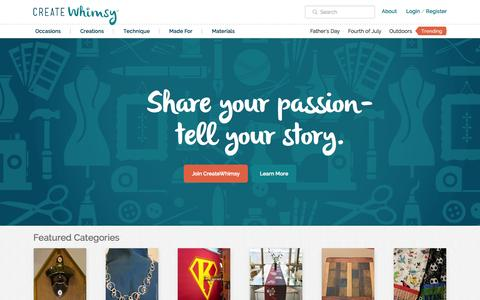 Screenshot of Home Page createwhimsy.com captured June 17, 2015