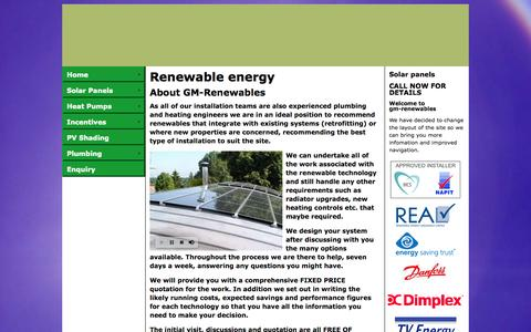 Screenshot of About Page gm-renewables.co.uk - Solar Panels and Renewable Energy in Berkshire - G M Renewables - captured Sept. 27, 2014