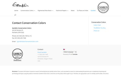 Screenshot of Contact Page conservationcolors.com - Contact Conservation Colors - Gamblin Conservation Colors - captured July 14, 2017