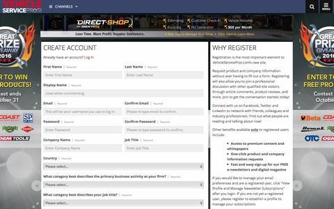 Screenshot of Signup Page vehicleservicepros.com captured Sept. 7, 2016