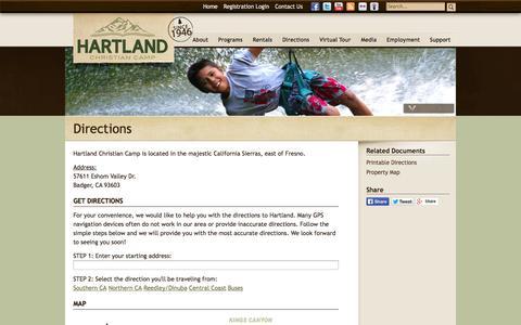 Screenshot of Maps & Directions Page hartlandcamp.com - Directions - Hartland Christian Camp - captured Oct. 2, 2014