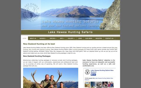 Screenshot of Home Page hawea-hunting.co.nz - Lake Hawea Hunting Safaris NZ - captured Oct. 1, 2014