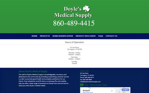 Screenshot of Hours Page doylesmedicalsupply.com captured Oct. 9, 2018