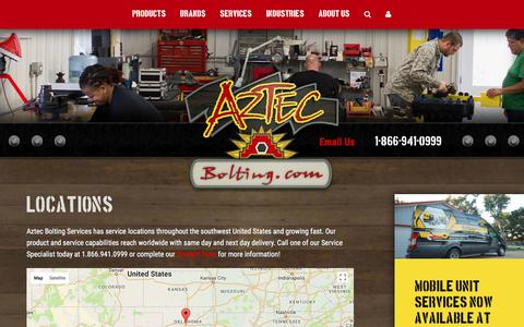 Screenshot of Locations Page aztecbolting.com - Locations | Aztec Bolting - captured Oct. 9, 2017