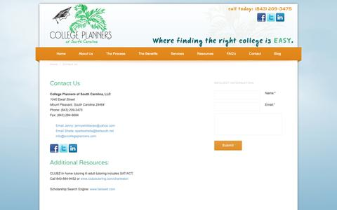 Screenshot of Contact Page sccollegeplanners.com - College Planners of South Carolina   Mt Pleasant SC - captured Sept. 29, 2018