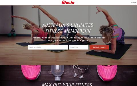 Screenshot of Home Page fitusin.com - Unlimited All-Access Fitness Membership - Studios & Gyms Near Me | FitUsIn - captured June 17, 2015