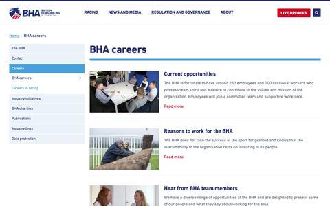 Screenshot of Jobs Page britishhorseracing.com - BHA careers - The British Horseracing Authority - captured Nov. 8, 2018