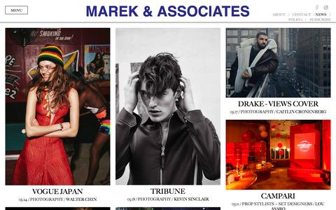 Screenshot of Press Page marekandassociates.com - Marek & Associates - News - captured May 27, 2016