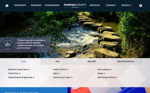 Screenshot of Home Page fairfaxcounty.gov - Fairfax County Homepage | Fairfax County - captured Sept. 21, 2018